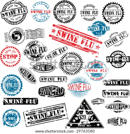 Collection of grunge rubber stamps about swine flu. See other rubber stamp collections in my portfolio.