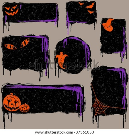 Collection of grungy halloween design elements (JPG); a vector version is also available - stock photo