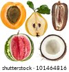 collection of halves fruits: apricot, quince, date, watermelon, coconut  isolated on white - stock photo