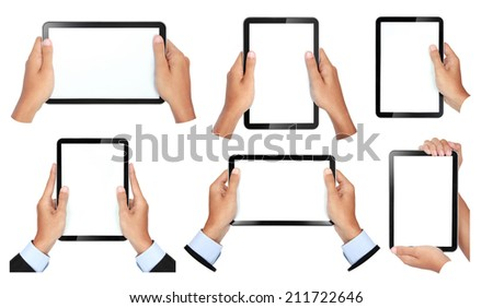 collection of hand gesture holding touch tablet isolated on white background - stock photo