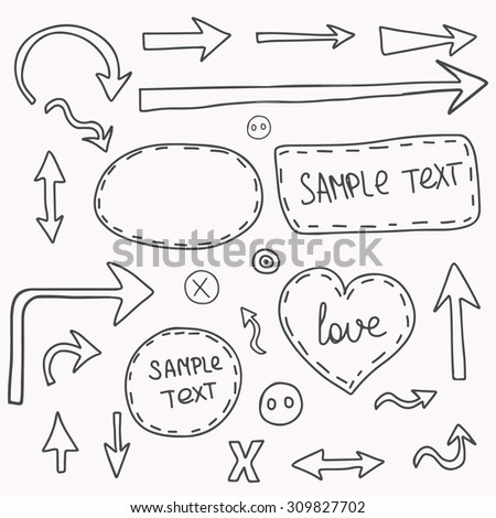 Collection of hand grunge arrows and templates for text. Drawing arrows in the old style.  illustration for your design. Color can be changed in one click. - stock photo