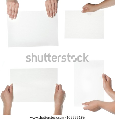 collection of hand holding blank paper on white - stock photo
