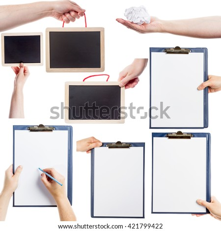 Collection of hands holding clipboards, blackboards and paper isolated on white background - stock photo
