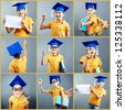 Collection of happy boy in graduation cap posing in front of camera - stock photo
