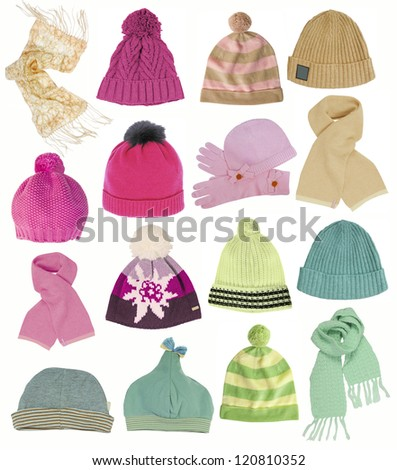 collection of hats isolated on white - stock photo