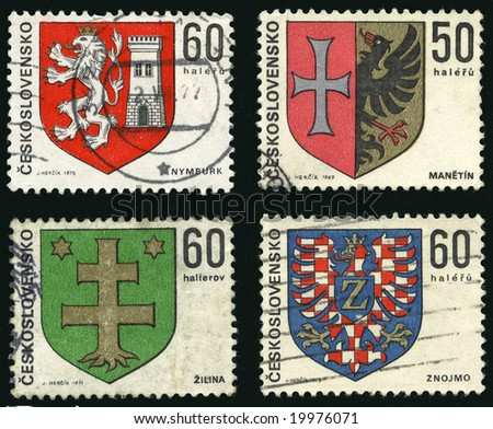 Collection of heraldic vintage post stamp