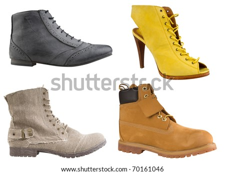 collection of high women shoes with clipping path
