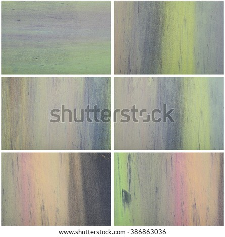 Collection of Holi color powder on a chalk black board. Pastel colorful background. Good texture for Holi festival and other projekts - stock photo