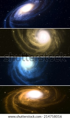 Collection of horizontal banners with spiral galaxy in space.  - stock photo