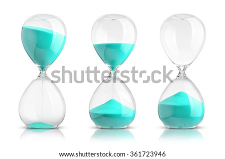 Collection of hourglasses on white background - stock photo