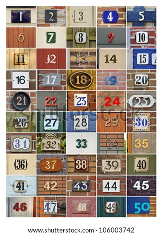 Collection of House numbers one to fifty - stock photo
