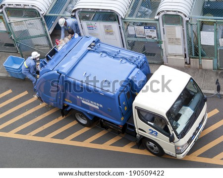 Collection of household waste, Tokyo, Japan - stock photo