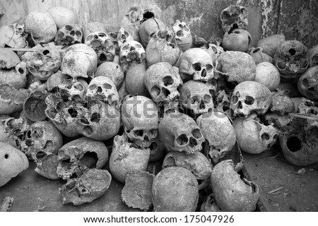 Collection of human skulls from the headhunting days in Mon, Nagaland - India - stock photo