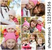 Collection of image with happy family while autumn - stock photo
