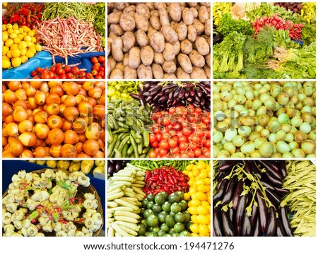 collection of images from vegetable farmers market - stock photo
