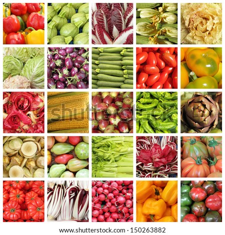 collection of images from vegetable farmers market in Italy - stock photo
