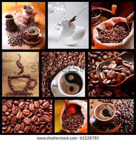 Collection of images with coffee. - stock photo
