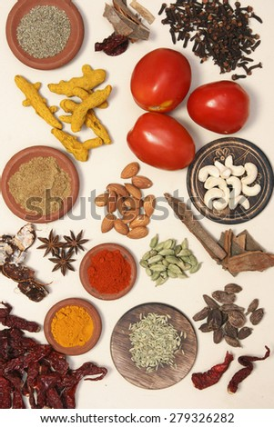 Collection of ingredients for Indian cuisine - stock photo