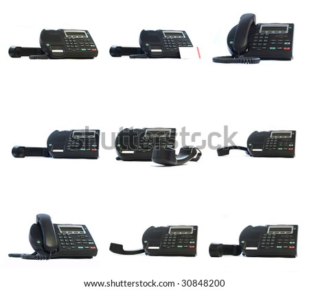 Collection of ip phones isolated on white - stock photo