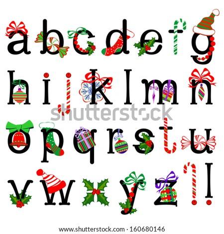 Collection of Isolated Christmas alphabet on White Background. Raster illustration. - stock photo