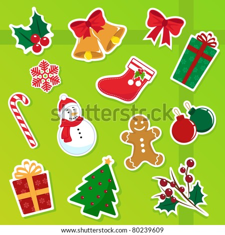 collection of isolated christmas icons (raster version)