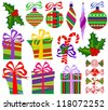 Collection of Isolated Christmas Objects on White Background, Raster Illustration - stock photo