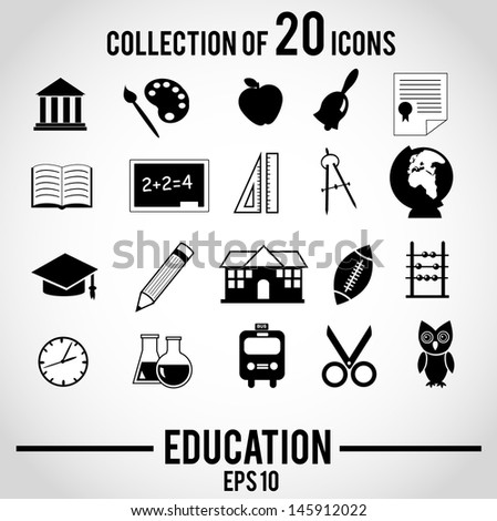 Collection of 20 isolated EDUCATION icons.  - stock photo