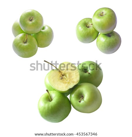 collection of isolated fresh green apple fruit for good health on white background