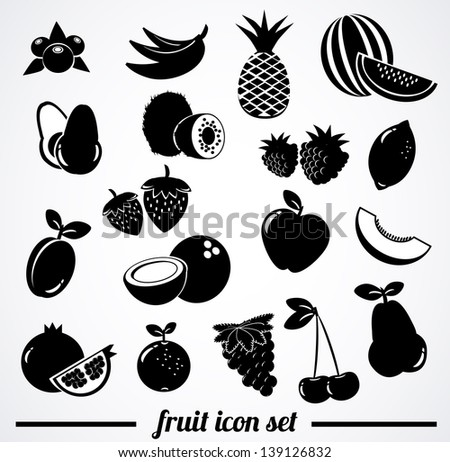 Collection of isolated fruit icons. - stock photo