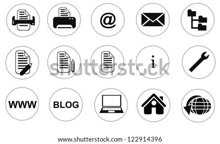 Collection of isolated web site, office, internet buttons on white background - stock photo