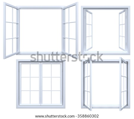 Collection of isolated window frames - stock photo