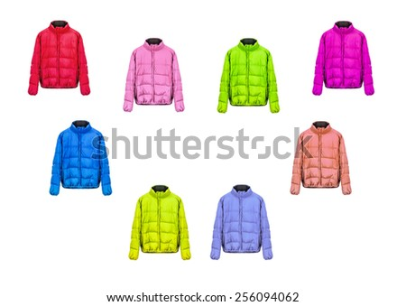 collection of jackets on a white background - stock photo
