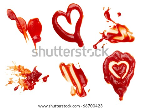 collection of  ketchup stains on white background. each one is shot separately - stock photo