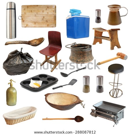collection of kitchen related objects isolated over white - stock photo