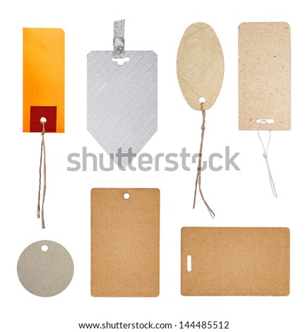 Collection of labels and price tags with threads - stock photo