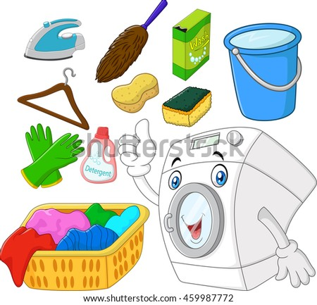 Collection of laundry equipment cartoon