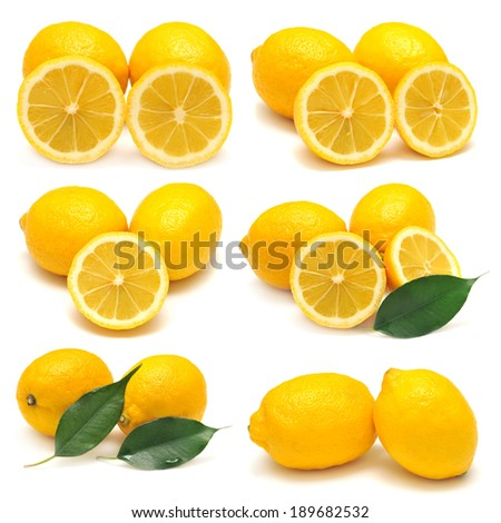 Collection of lemon isolated on white background - stock photo