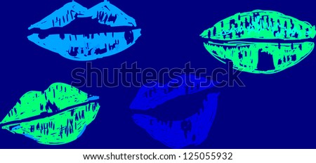 Collection of lips kiss - stock photo