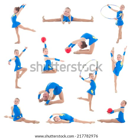 collection of little girl in blue doing gymnastics isolated on white background - stock photo