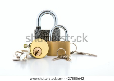 Collection of Locks on a white background - stock photo