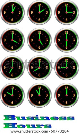 Collection of luminous clocks showing each Business hour of the day and illustration - stock photo