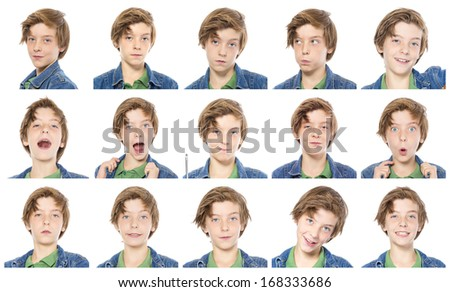 collection of male teenager portraits, isolated on white.