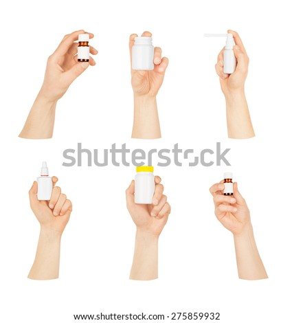 Collection of man's hands with a bottle on a white background - stock photo