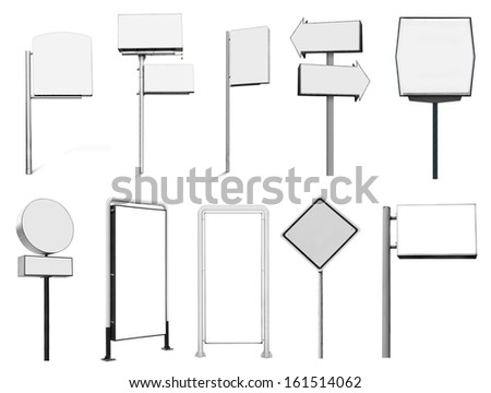 Collection of many advertising banner billboard and sign isolated on white background - stock photo