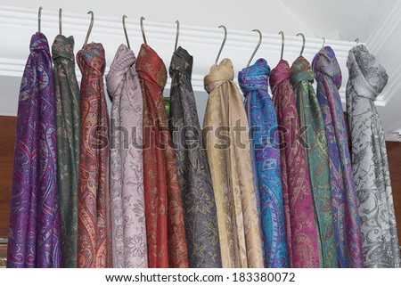 collection of many colorful Pashmina scarves  - stock photo