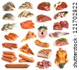 Collection of meat and seafood on a white background - stock photo