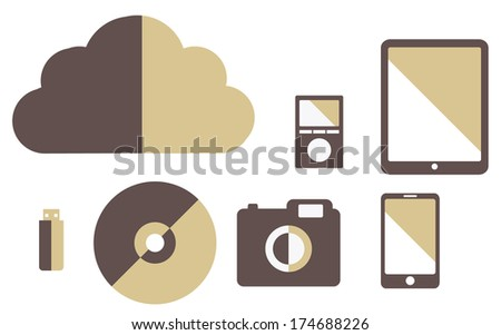 collection of media gadgets vintage color cloud, tablet, flash drive, smartphone, camera, player - stock photo