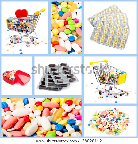 Collection of medical concepts with pills. Colored pills, tablets and capsules on a white background - stock photo