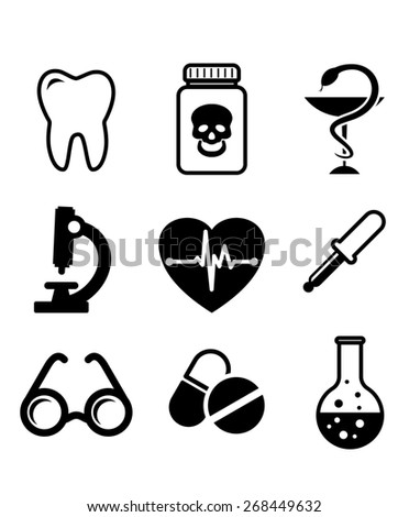 Collection of medical icons in black and white depicting a tooth for dentistry, poison, microscope, heart with ECG, spectacles, dropper, and laboratory glassware - stock photo