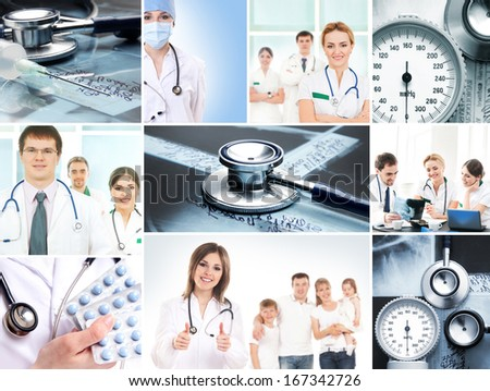 Collection of medical images with hospital workers, nurses and interns - stock photo